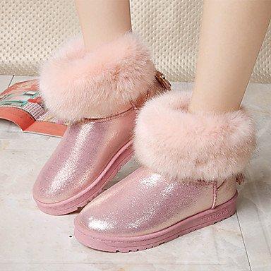 RTRY Scarpe Donna Pu Autunno Inverno Lanugine Fodera Comfort Novità Snow Boots Fashion Stivali Stivali Tacco Piatto Round Toe Stivaletti/Stivaletti Giù US5.5 / EU36 / UK3.5 / CN35