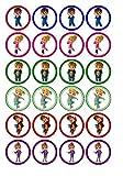 Oblaten, Kuchen- und Cupcakeverzierung, 24 Stück, Motiv: Alvin und die Chipmunks
