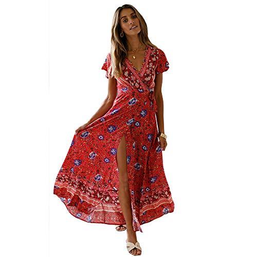 Gedruckt Wrap Kleid (Starlifey Damen V-Ausschnitt Floral Print Wrap Maxi Kleid Vintage Split Boho Gürtel Seil Cocktailkleid)