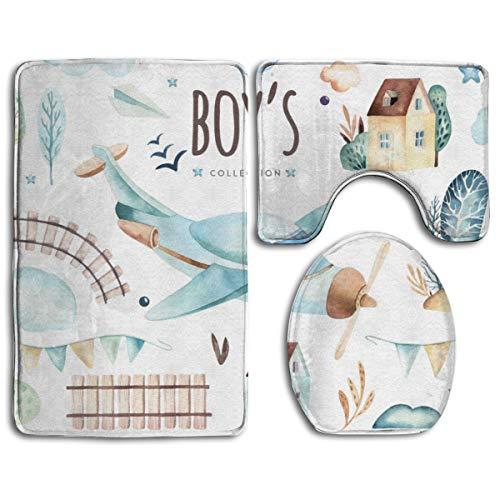 DDHHFJ Bath Mat+Pedestal Mat+Toilet Seat Cover 3 Piece Set Non Slip Bathroom Rug Mat,Baby Boys World,Anti-Slip Mat