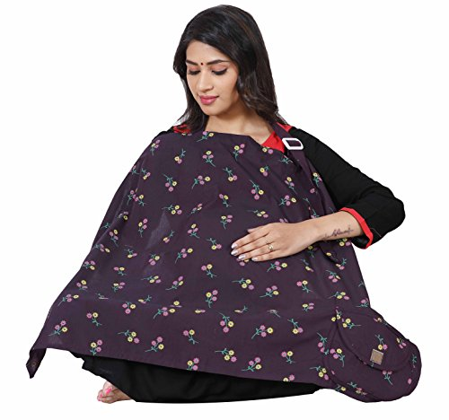 Lula Mom Cotton Nursing Cover for Breastfeeding Privacy EXTRA WIDE - Voilet Color
