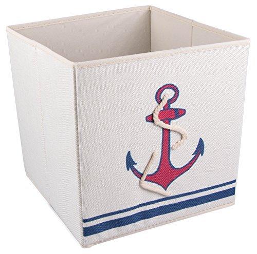 Clever creations - scatola pieghevole per armadio - ancora marina - blu/rosso