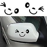 Lindo Sonrisa Cara 3D Decoración Pegatinas/Etiqueta Engomada para el Auto Coche lateral espejo L + R retrovisor