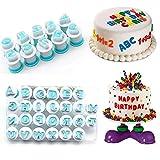 Techwills Wiederverwendbare Groß- und Kleinbuchstaben Alphabet Zahlen Ausstecher Kunststoff Fondant Backen Cupcake Form Kuchen Dekorieren Geburtstagsfeier (1 Set,Zahlen+Klein+Groß)