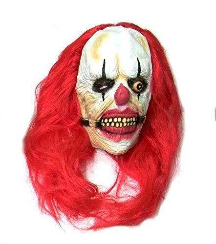 n TM 619219290333gefoltert Killer Clown Maske Halloween Kostüm Süchtig Mund und rot Perücke Horror Latex Zubehör, Unisex, ONE SIZE (Clown Maske Kostüm)