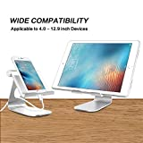 iPad Pro Stand, OMOTON Adjustable Multi-Angle Aluminum Stand, with Stable Sticky Base and Convenient Charging Port, Fits All Smart Phones, E-readers and Tablets (Up to 12.9 inch), Silver