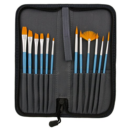 US Art Supply 12-Piece Short Handle Nylon Hair Artist Paint Brush Set Blue Handle with Carry Case by US Art Supply