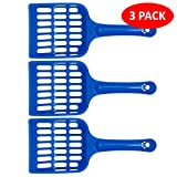 volila Cat Litter Scoop With Strong Plastic Easy Handle For Pet Poop, Easy to Clean, Dark Blue (3 Pack) (blue, poop)