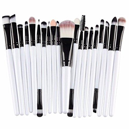 20 pcs Makeup Brush Set - BZLine Professional outils cosmétiques - poignée blanche - cheveux doux et de haute qualité (Noir)