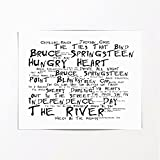 Bruce Springsteen Poster Affiche d'art - The River - Edition signée et numérotée limitée Typographie Non encadré 20 x 25 cm la Musique Album Mur Art Haute qualité d'impression
