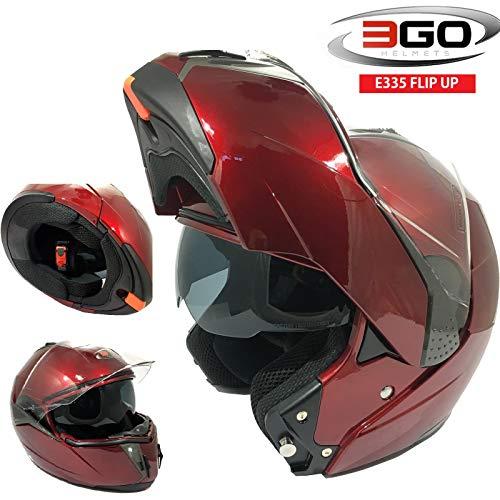 3GO CASCHI Moto da Uomo E335 Casco Moto Modulare Sportivo Touring Scooter Flip-up Racing apribile con Doppia Visiera (Bordeaux Rosso,XS)