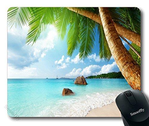 smooffly Gaming Maus Pad Custom, tropischen Palme Mauspad Strand Kokos Blue Sea rutschfester Gummi Mauspad Gaming Mauspad
