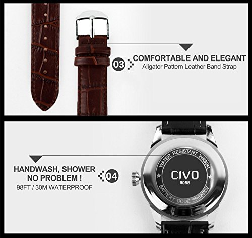 CIVO Men's Luxury Brown Genuine Leather Band Date Calendar Wrist Watch Mens Casual Business Analogue Quartz Waterproof Wrist Watches Classic Roman Numeral Simple Design Fashion Dress Wristwatch