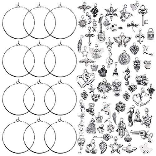 Jdesun 100 Stück Weinglas Charm Ringe Ohrring Creolen (25mm) mit 100 Stück Gemischt Handgemachte Charms Anhänger Schmuckzubehör für Weinglas Anhänger Ohrringen basteln