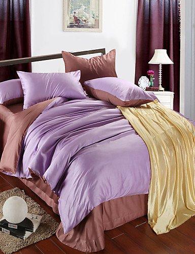 ZQ andLight klar lila Brwon Tencel Bettwäsche Queen King Size Soft Color Palette Bettbezug 100% 220 x 240 cm King