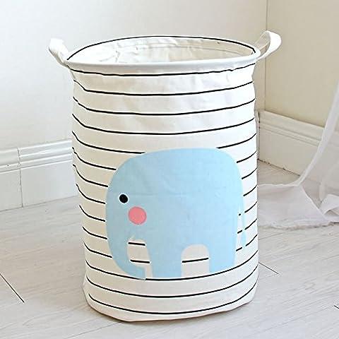 Yiuswoy Faltbar Wäschekorb Aufbewahrungstasche Baumwolle Stoff Wäschetruhe Spielzeug Aufbewahrung Haushalt Organizer Korb-Elefant
