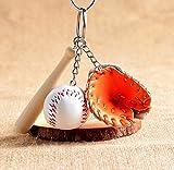 FlowerKui Moderner Mini Baseballschläger Handschuh Set Schlüsselanhänger Bag Anhänger–Orange