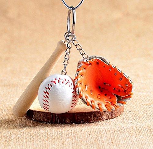jiaqinsheng Creative Moderner Mini Baseballschläger Handschuh Set Schlüsselanhänger Handtasche Anhänger–Orange