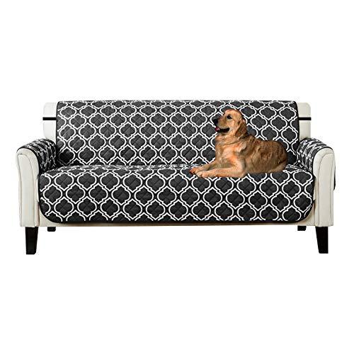 Lovestory copridivano tre posti impermeabile sofa saver 3 posti reversibile divano trapuntato antiscivolo protegge da animali extra (nero, 3 posti)