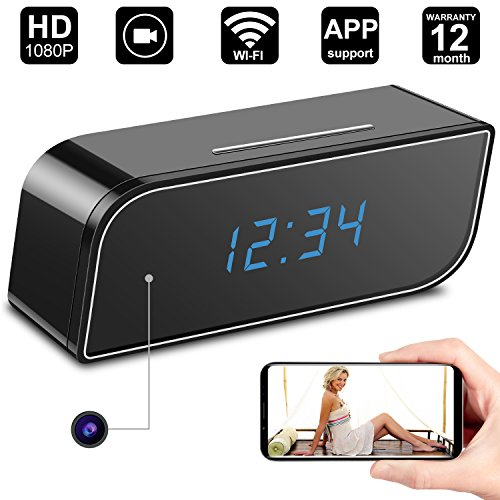 Jiamus Hidden Camera Alarm Clock WiFi Hidden Camera Motion Detection Wireless Mini Video Recorder Diamond Formation for Home Security,Mini WiFi Camera Support iOS/Android/PC/Mac