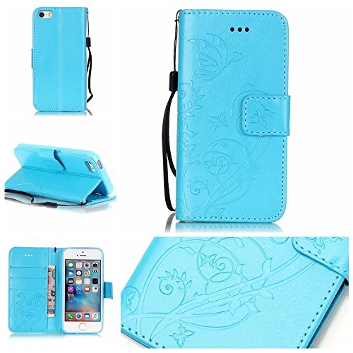 iPhone Case Cover Premium PU Housse en cuir Housse Folio Flip Housse en relief pour iPhone 5S 5 SE ( Color : Brown , Size : IPhone 5S SE ) Blue