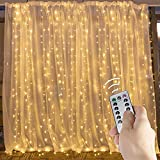 Window Curtain String Lights,300 LED Icicle Fairy Twinkle Starry Lights for Christmas Xmas Wedding Party Home Decoration Fairy Lights Wedding Party Home Garden Decorations(3mX3m, Warm White)