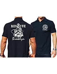 "'Polo Bleu marine, FDNY ""Rescue 2–BROOKLYN with Bulldog"