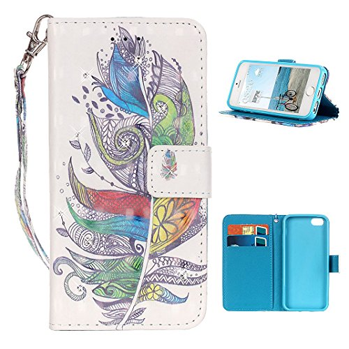 iPhone SE Flip Cover, iPhone 5 Handyhülle, iPhone 5S Case,Moon mood® Flip Case Brieftasche für Apple iPhone 5/5S/SE (4.0 Zoll) ,PU Leder Hülle Wallet Case Folio Schutzhülle Scratch Design Bumper Handy Farbige Federn