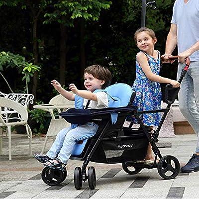 Lunzi Contorno de la curva del cochecito doble tándem para bebés, niños pequeños o gemelos - 360 y grados; Opciones de giro y fácil manejo en frenos múltiples asientos, A
