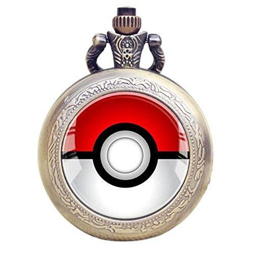 Pokemon Logo Quarz-Taschenuhr Halskette–Bronze Antikeffekt–in Geschenkbox mit gratis Ersatzbatterie
