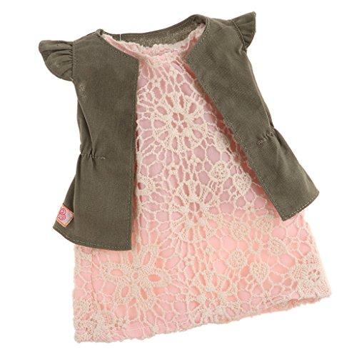 Baoblaze Modische Puppenkleid + Weste Sommer Kleidung Set für 18'' American Girl Puppe Zubehör - Pinkes Kleid (Kleider Für American Girl-puppen)