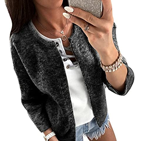 Babysbreath Femmes Cardigan 3/4 Sleeve Friont Open O-neck Slim Knitted Casual Spring Autumn Sweater Manteau court Noir L