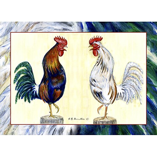 Betsy Drake PM037 Blue Rooster Place Mat, Set of 4 Le Rooster Set