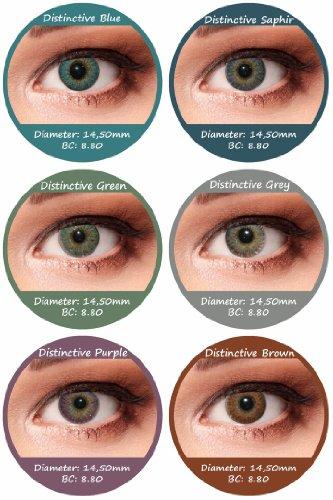 Grüne Farbige Kontaktlinsen 3 Monatslinsen mit Stärke -0,75 Design: Distinctive Green