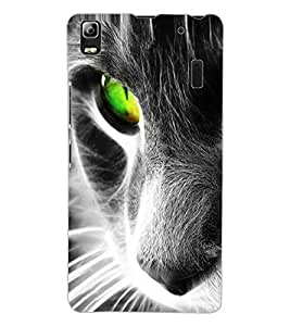 ColourCraft Scary Cat Look Design Back Case Cover for LENOVO A7000