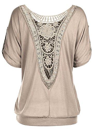 DJT Femme T-Shirt Ajoure au dos Lace dentelle Tops manches courtes Kaki