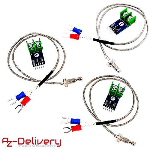AZDelivery 3 x MAX6675 Temperatur Sensor mit Sonde K-Typ und Jumper Wire für Arduino und Raspberry Pi -