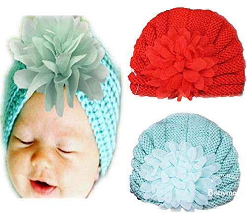 Babymoon (Set of 2) Flower Baby Cap Photography Props Photoshoot Costumes Babyshower Gift (Rose Red & Ice Blue)