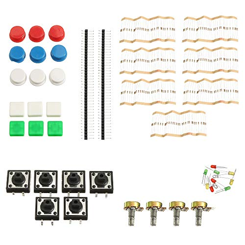 LaDicha 3Pcs Universal Component Parts Package Kit A1 for Arduino Project with Resistor + Botton + Adjustable Potentiometer