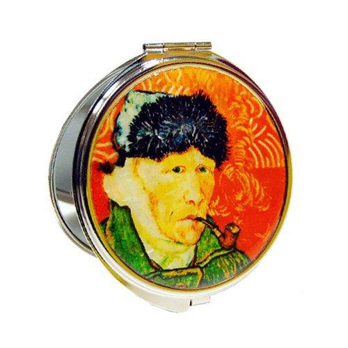Nacre 'van Gogh' Self – Portrait Rouge Motif double miroir de sac à main Compact