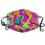 Mundmaske 90S Memphis Ohrschlaufen-Gesichtsmaske - verstellbares elastisches Band für Laufen im Freien, Anti-Pollen-Staubdicht Gesichts- und Nasenschutz, halbes Gesicht Mund-Maske/Abdeckung