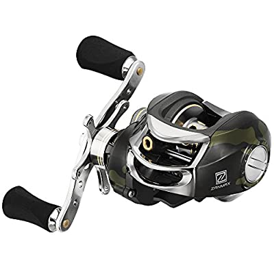 Z Zanmax Baitcasting Fishing Reel, Stainless Steel Bearings, Super Drag, Magnetic Tuned Dual Brakes Saltwater Freshwater Reel for Bass, Crappies, Perch, Trout, Walleyes[Right Hand] from Z Zanmax