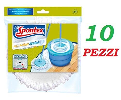 10pièces Spontex Mop rechange Full Action System plus100% microfibre serpillère original