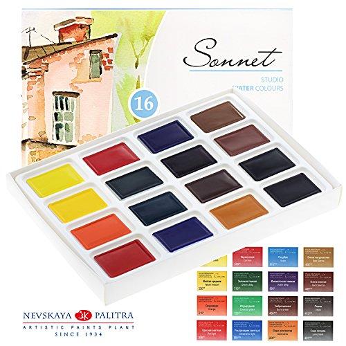 Aquarellfarbe set Hochwertig- Zur Auswahl: 16 oder 24 Farben - Qualität von Sonnet (16er Set) (16...