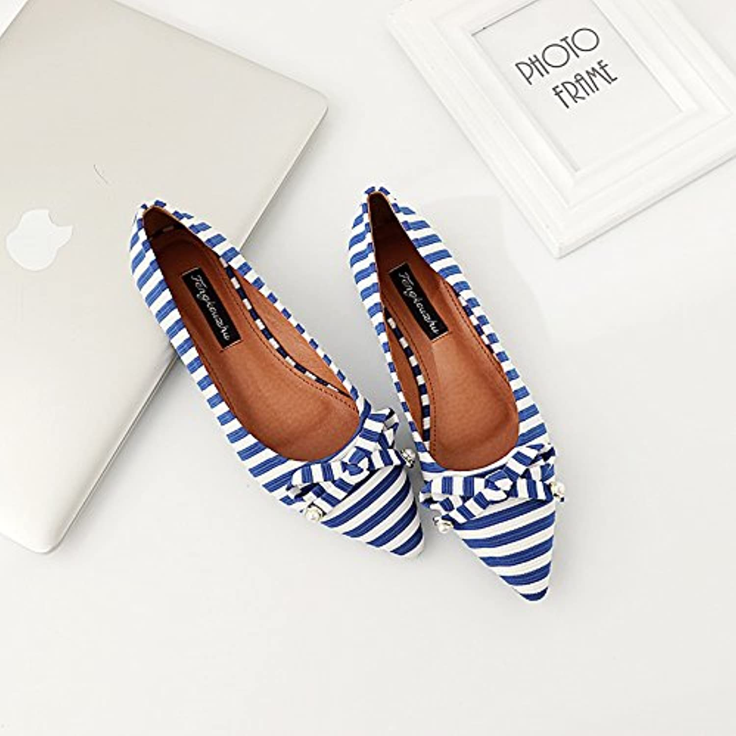 7e1eda1e0f1c Xue Qiqi Court shoes 27926 Parent Point flat shoes shallow mouth Court flat  with single shoes female navy stripes female shoes B07FGFY6D5 Parent 99d0694