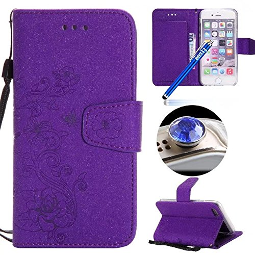 Custodia iPhone 6S pelle,Cover iPhone 6 Portafoglio,Etsue Custodia Cover Ultra Slim Leather Pu Wallet Flip Protective Case Cover Custoida Lusso Puro Relief Goffratura Fiori Fiore Farfalle Modello in P Viola