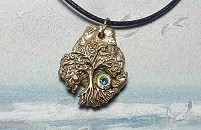 Bijou celtique/wicca/breton, pendentif unisexe, Météorite en bronze couleur or avec yggdrasil, arbre de vie celteet 1 CZirconia bleu aqua, cuir noir, pièce unique, pour hommes et femmes
