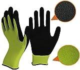 Grüne und schwarze Latex Gartenhandschuhe von Easy Off Handschuhe. Fachschaumlatex auf der Handfläche und Fingerspitzen für maximale Geschicklichkeit, Haltbarkeit, Festigkeit, Komfort und Grip (Medium EU 9)