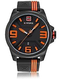 Naviforce reloj analógico cuarzo watch-men del deporte de moda Casual Cuarzo Reloj de pulsera, correa de caucho, Calendario (naranja)