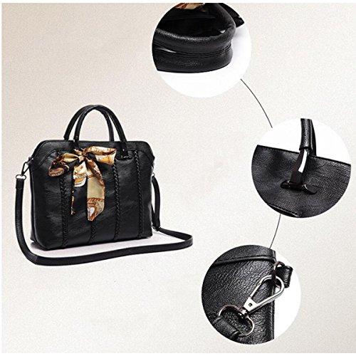Schalweben Art Und Weise Damen PU-Leder Handtasche + Schulterbeutel + Handtasche Dreiteilig lightgray